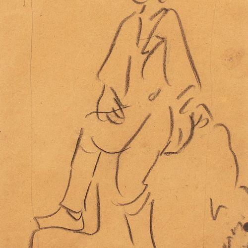 HALEPAS Yannoulis, 1851 1938  Étude d'homme assis  fusain sur papier beige (trac…