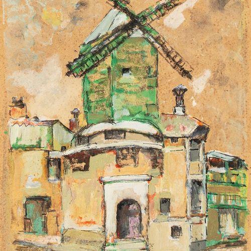 LAGAR Celso, 1891 1966  Le Moulin de la Galette  plume, encre de Chine et gouach…