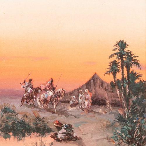 PASCAL Paul, 1832 1905  Cavaliers orientaux de retour au campement  gouache sur …