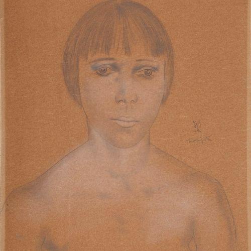 FOUJITA Léonard Tsuguharu, 1886 1968  Étude de modèle, jeune fille de face, circ…