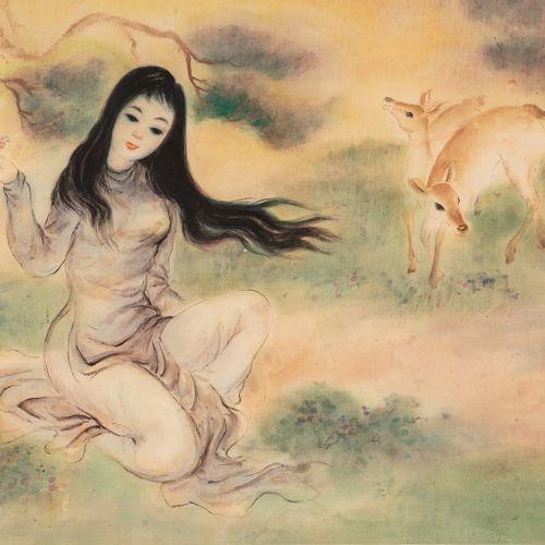 TRAN Van Tho, né en 1917  Femme aux biches  aquarelle sur soie doublée sur papie…