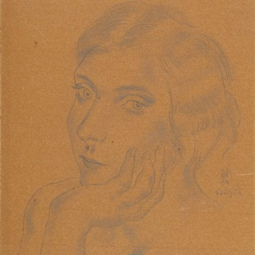 FOUJITA Léonard Tsuguharu, 1886 1968  Portrait de femme, 1928  mine de plomb et …