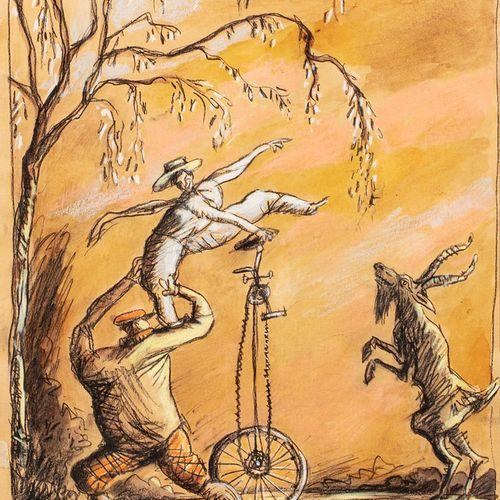 MAJA Daniel, né en 1942  L'équilibriste, 1997  crayon noir, aquarelle et pastel …