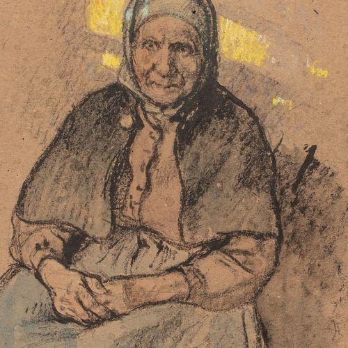ADLER Jules, 1865 1952  Vieille femme assise  aquarelle et rehauts de pastel sur…