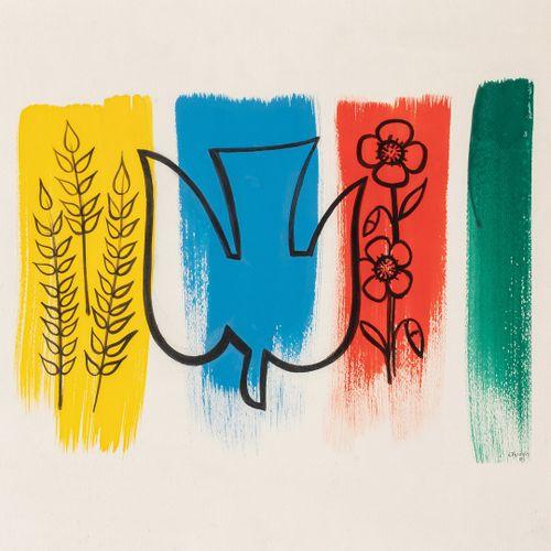 BROGLY Colette, XXe siècle  Oiseau et fleurs, 1989  gouache sur papier, signée, …
