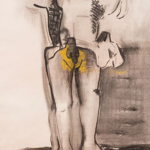 ALBEROLA Jean Michel, né en 1953  Nu debout, 1992  fusain, estompe et rehauts de…