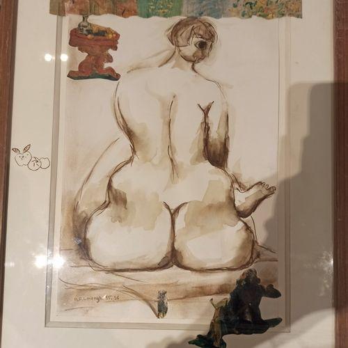 MENGHI MFL, XXe siècle,  Nu de dos, 1995 1996,  aquarelle et collage de papiers …