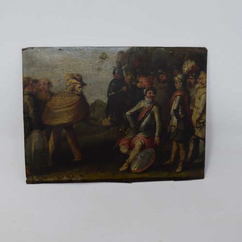 弗莱米什学校 17世纪的前三分之一  1 弗兰德斯的一个小镇上的场景:演说家,报复性的女人。  那个长着狮子头和柱状腿的人,还有那个小皮包裁缝。  铜上油彩  …