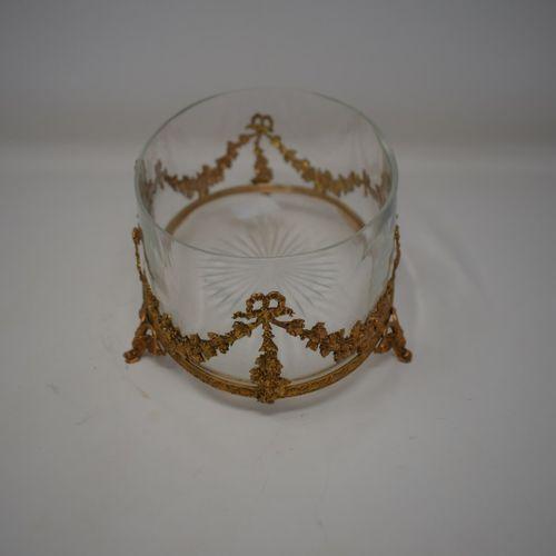 Jardinière en verre base gravée d'une étoile, monture en pomponne de style Louis…