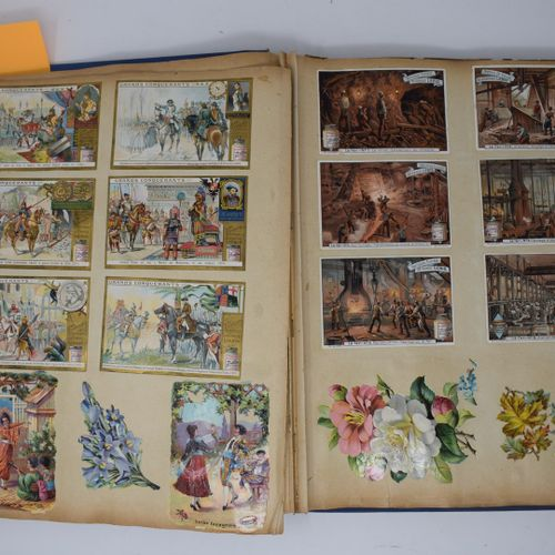 两本相册,收录了各种色谱和素描图片,主要是LIEBIG(包括系列图片:鲜花节、冰淇淋、蒙特克里斯托伯爵、荷兰场景、水果......)和LEFEBRE UTILE…