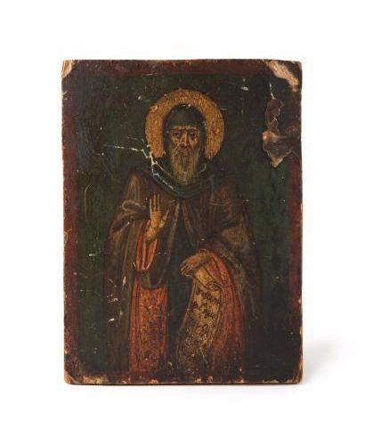 Saint moine, probalement Saint Antoine (?)  Moyen Orient vers 1800  Tempera sur …
