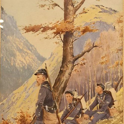 A. BERNARD, ECOLE FRANCAISE FIN XIXeme SIECLE,  « Trois chasseurs à pied au repo…