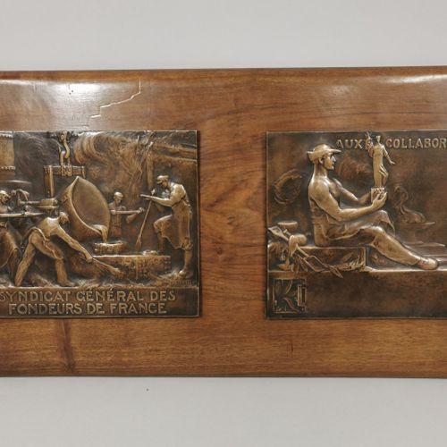 BLIN Edouard, 1877 1946  Deux importantes médailles rectangulaires en bronze fix…