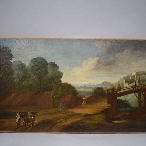 18世纪法国学校    河边的乡村风景,村民和骑手在桥的入口处。  和右上方的古代遗迹。    布面油画(修饰;上下左右有修复的痕迹;左上方有旧事故的痕迹   …