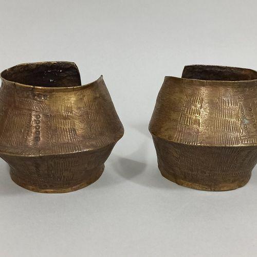 GOURMANTCHE, Mali ou Burkina Faso  Paire de bracelets cheville en bronze finemen…