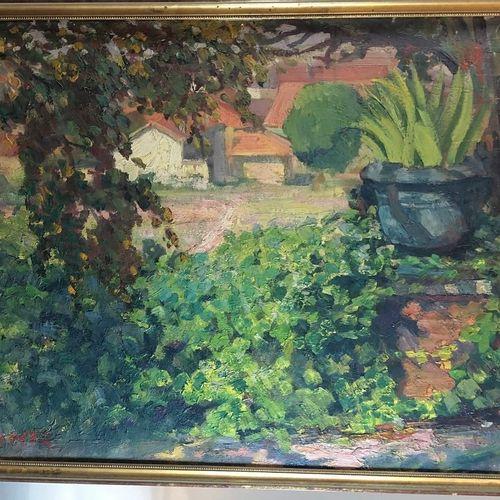 地段包括。  普肖克斯  屏障上的景观  板面油画,右下角有签名  高:60厘米 宽:74厘米     EM  池塘  布面油画,右下角有文字说明  高度:46…