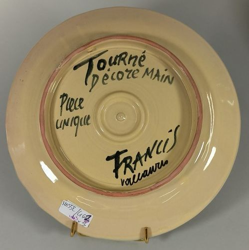 CROCIANI Francis    Ensemble de 3 pièces :    Grand vase à décor de frégate. Ter…