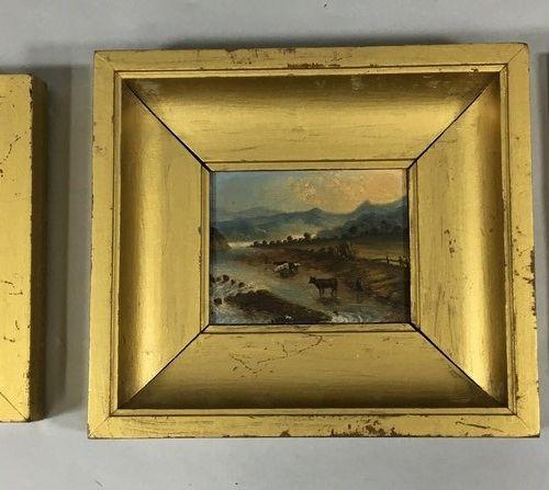 DESPLACES H(19世纪)。  草地上的奶牛 奶牛喝水 水闸  三幅油画微型画,背面有签名和日期,有轻微缺损和事故  3 x 5.5厘米 3 x 2厘米…