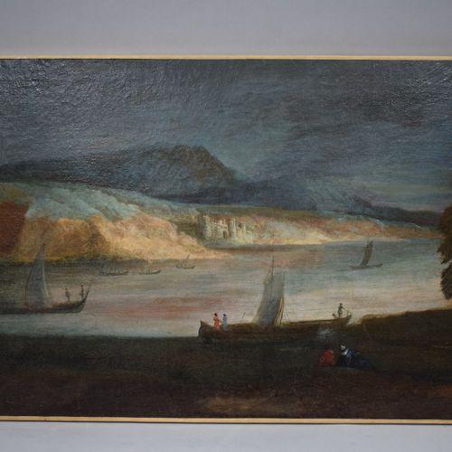 18世纪法国学校    河边的风景,有几个步行者在岸边休息。  布面油画(有些修复,特别是在下部)。    H.49.5 W. 76.7 cm