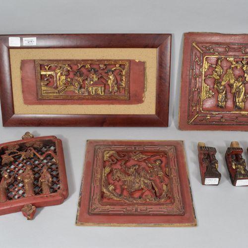 中国 宁波省,20世纪  一套7个红漆镀金字的木雕元素,包括4个面板  事故  H.从14到28厘米