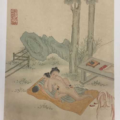 CHINE, XXème siècle  Trois aquarelles érotiques sur papier.  (contre collées sur…