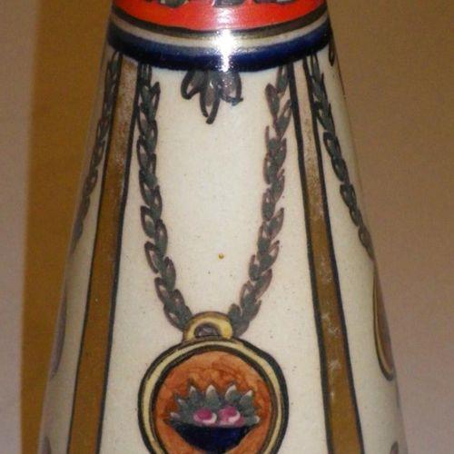 RENOLEAU Alfred (1854 1930)  Vase piriforme en faïence émaillée à décor polychro…