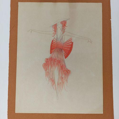 ANONYME, XXe SIECLE,  Ensemble de 6 projets de costumes pour l'Opéra de Paris  A…