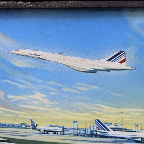 皮耶罗 皮埃尔(XX)  法国航空公司,协和飞机在戴高乐机场前起飞  面板油画,右侧有签名。  51x117厘米    CIRCA 1974 我们感谢法航荣誉董…