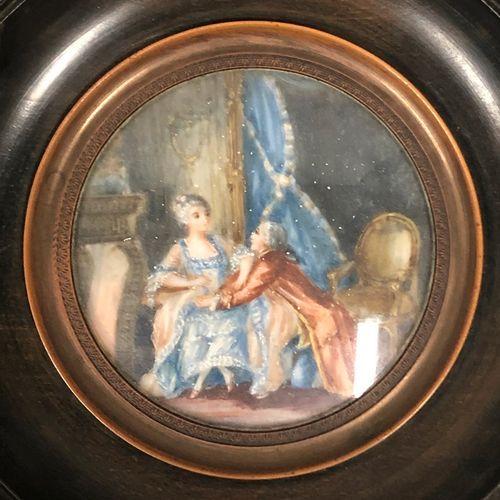 在18世纪的品味中。  加兰特的场景  用水粉画的两个微型模型  直径: 5,3 cm