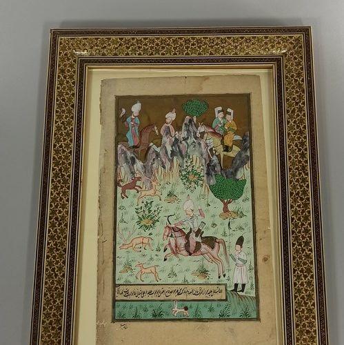 Enluminure persane à décor d'une scène de chasse au faisan.  H.: 28,5 cm L.: 17,…