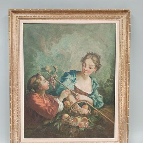 弗朗索瓦 布歇品味的现代学校  浪漫的场景,布面油画。20世纪。画布底部有小块脱落。  尺寸:81x65厘米