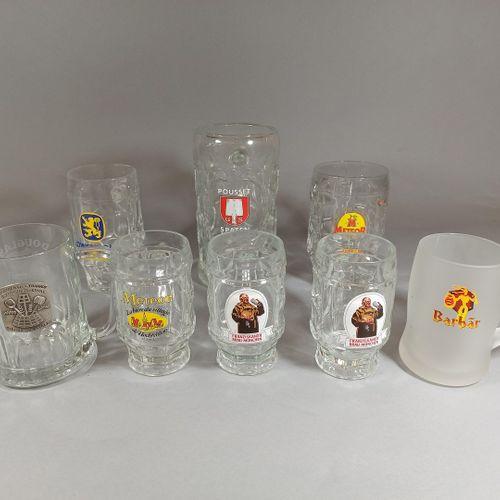 Lot de 8 chopes à bière publicitaires en verre (Météor et diverses marques de bi…