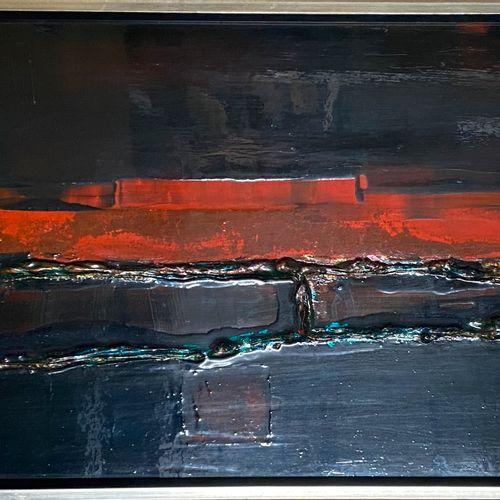 SAFFRE保罗 赫尔曼,20世纪  无题》,1975年  面板混合媒体(有划痕的痕迹),右下角有签名和日期  32x70厘米