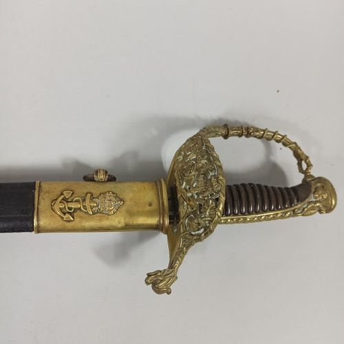 Naval officer saber model 1837.  Crowned anchor decoration.  Second Empire perio…