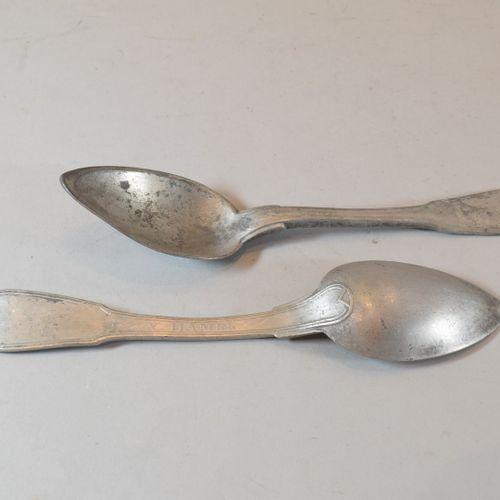 "Lot of 27 lead spoons. Inscription ""V. Hamel""."