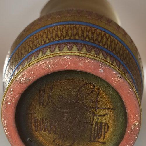 MAUREL René (1910 1986)  Grand vase à décor de poissons.  Terre de Vallauris, si…