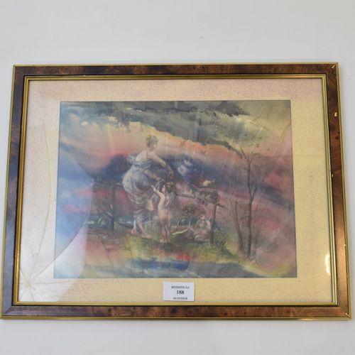 Vénus et les amours.  Fragment de feuille d'éventail peint sur soie.  Encadré so…