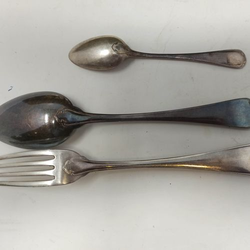 CHRISTOFLE    Silver plated metal set of 12 forks, 12 spoons, 10 dessert spoons …