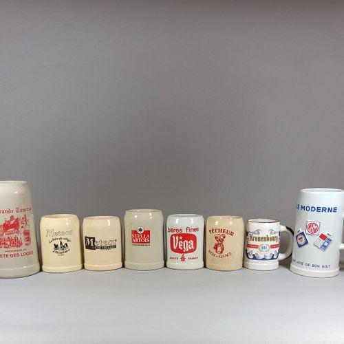 一套8件的炻器广告杯。    法国啤酒(维加、斯特拉、克伦堡、流星...)。  一张的底部有轻微的缺口(GBM)。