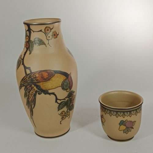 HJORTH Lauritz à Bornholm (Danemark)    Ensemble de 2 vases en grès d'époque Art…