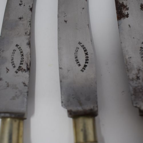 Two sets of 6 knives, Delft porcelain handle with Chinese decoration.  Steel bla…