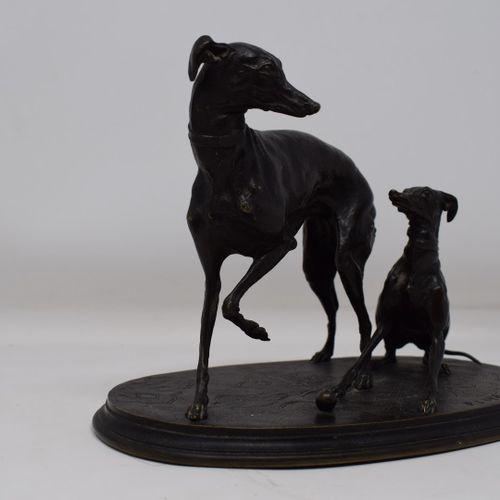 MÈNEPierre Jules(1810 1879) Levretteetsonchienjouantàlaballe, bronzeà…