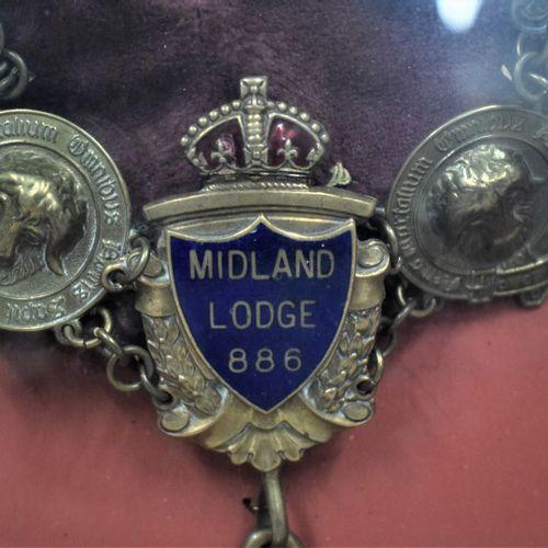 Pièce encadrée contenant un grand cordon et médailles de l'ordre des Buffaloes  …
