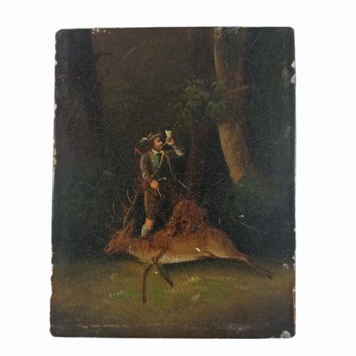 """黑森林学校或巴伐利亚学校。19世纪铜上油彩 """"死鹿上的猎人""""。  11x8.50厘米"""