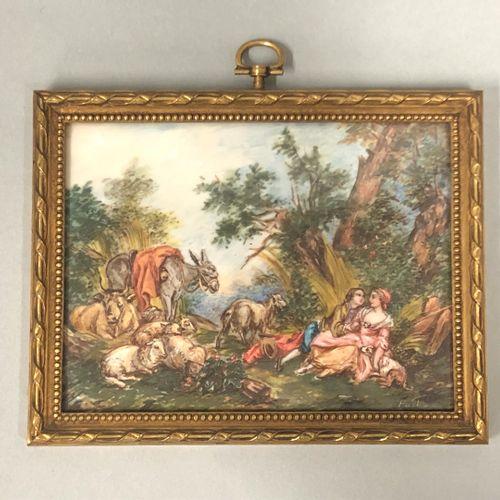 Jean Baptiste HUET (1745 1811), After,  乡村风景中的豪迈场景。  两幅微型画,其中一幅有签名。  10,5 x 8 cm