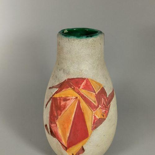 SAGAN Jacques (né en 1927)  Vase à décor de tauromachie stylisée en bas relief. …