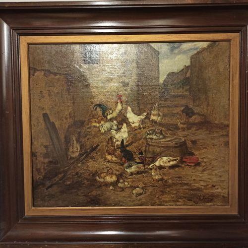 查尔斯(JACQUE),风格为  巴塞 库尔。  布面油画(重要修复),右下角有天书碑文  51x61厘米。