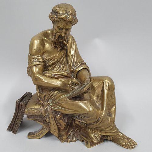MOREAU (XIX XXeme)  La loi  Bronze de pendule à patine doré  Sur le coté : MOREA…