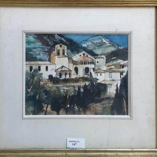 JUTAND Pierre, 1935 2019  Village de montagne  Aquarelle, plumes, encre brune et…