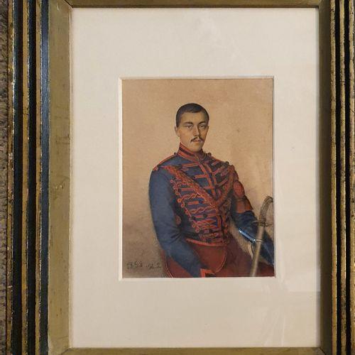 ANONYME [H.L.]  Hussard de la guerre de Crimée, 1858  aquarelle sur papier, mono…